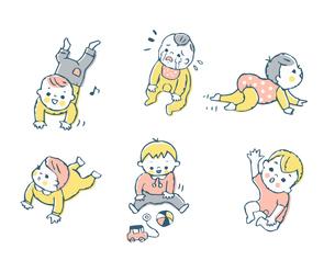 赤ちゃん ポーズセット ピンクのイラスト素材 [FYI04095467]