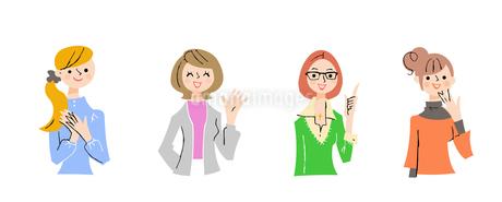 若い女性4人上半身 セットのイラスト素材 [FYI04095476]