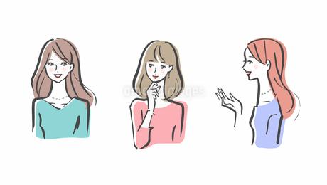 女性 3人セットのイラスト素材 [FYI04095477]
