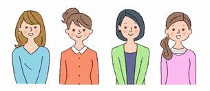 笑顔の若い女性 4人 のイラスト素材 [FYI04095478]