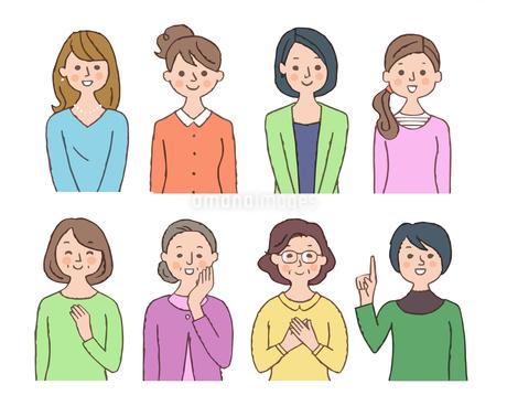 笑顔の女性 8人 セットのイラスト素材 [FYI04095481]