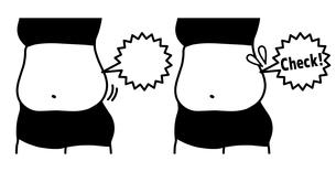 ダイエット-ウエスト-メタボ-吹き出し-黒のイラスト素材 [FYI04095561]