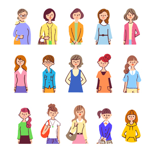 様々な年齢の女性15人 上半身 のイラスト素材 [FYI04095589]