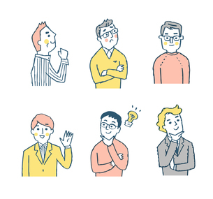 男性6人表情 セット ピンクのイラスト素材 [FYI04095600]