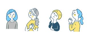女性4人表情 セット ブルーのイラスト素材 [FYI04095606]