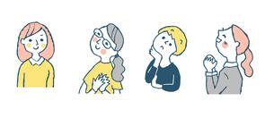 女性4人表情 セット ピンクのイラスト素材 [FYI04095607]
