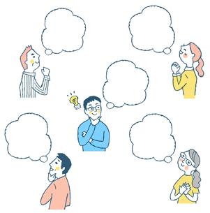 男女5人 ふきだしのイラスト素材 [FYI04095609]