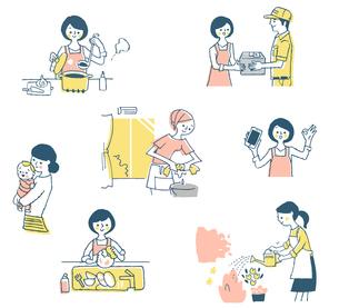 家事いろいろセット ピンクのイラスト素材 [FYI04095615]