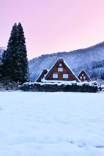 世界文化遺産 冬の白川郷に朝焼け空の写真素材 [FYI04095794]