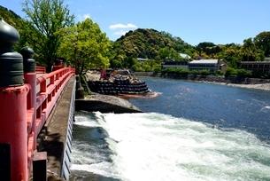 新緑,上流の宇治川に架かる橋の写真素材 [FYI04096249]