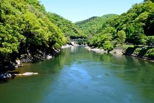 新緑の宇治川上流の写真素材 [FYI04096256]