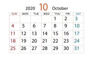 2020年 カレンダー 10月のイラスト素材 [FYI04096529]