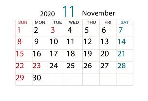 2020年 カレンダー 11月のイラスト素材 [FYI04096530]