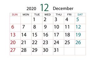 2020年 カレンダー 12月のイラスト素材 [FYI04096531]