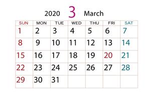 2020年 カレンダー 3月のイラスト素材 [FYI04096534]