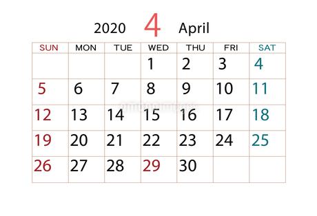 2020年 カレンダー 4月のイラスト素材 [FYI04096535]
