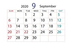 2020年 カレンダー 9月のイラスト素材 [FYI04096540]