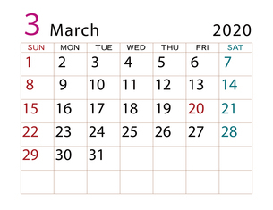 2020年 カレンダー 3月 その2のイラスト素材 [FYI04096553]