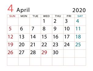 2020年 カレンダー 4月 その2のイラスト素材 [FYI04096554]