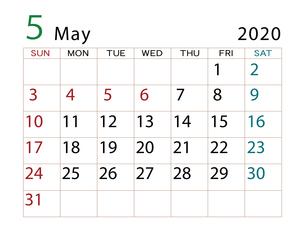 2020年 カレンダー 5月 その2のイラスト素材 [FYI04096555]