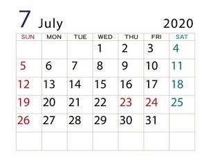 2020年 カレンダー 7月 その2のイラスト素材 [FYI04096557]