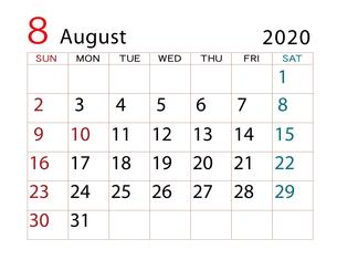 2020年 カレンダー 8月 その2のイラスト素材 [FYI04096558]