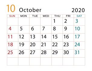 2020年 カレンダー 10月 その2のイラスト素材 [FYI04096560]