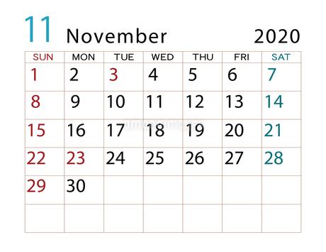 2020年 カレンダー 11月 その2のイラスト素材 [FYI04096561]