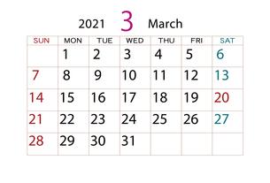 2021年 カレンダー 3月のイラスト素材 [FYI04096569]