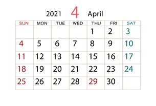 2021年 カレンダー 4月のイラスト素材 [FYI04096570]
