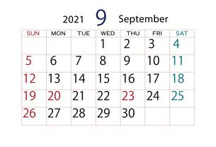 2021年 カレンダー 9月のイラスト素材 [FYI04096575]