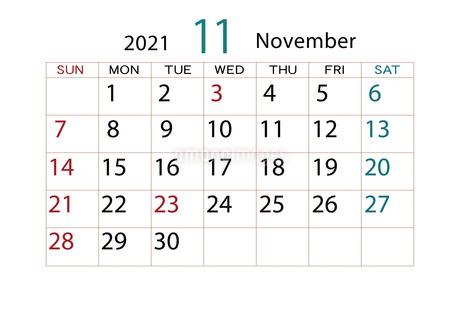 2021年 カレンダー 11月のイラスト素材 [FYI04096577]
