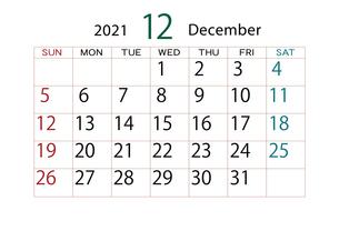 2021年 カレンダー 12月のイラスト素材 [FYI04096578]