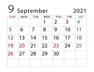 2021年 カレンダー 9月 その2のイラスト素材 [FYI04096602]
