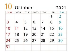 2021年 カレンダー 10月 その2のイラスト素材 [FYI04096603]