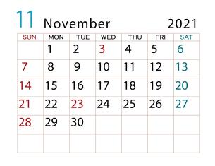 2021年 カレンダー 11月 その2のイラスト素材 [FYI04096604]