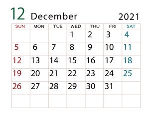 2021年 カレンダー 12月 その2のイラスト素材 [FYI04096605]