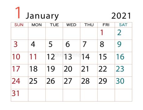 2021年 カレンダー 1月 その2のイラスト素材 [FYI04096606]