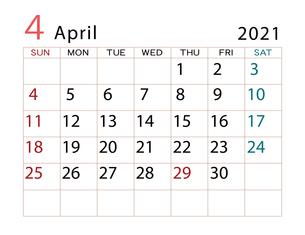 2021年 カレンダー 4月 その2のイラスト素材 [FYI04096609]