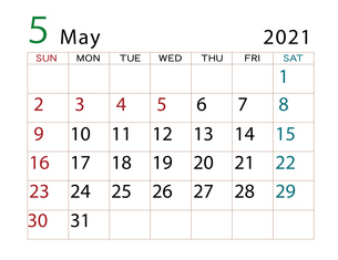 2021年 カレンダー 5月 その2のイラスト素材 [FYI04096610]