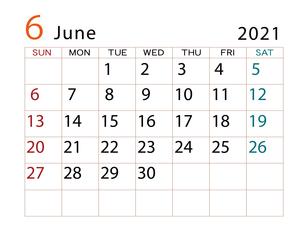 2021年 カレンダー 6月 その2のイラスト素材 [FYI04096611]