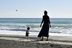 浜辺で遊ぶ親子の写真素材 [FYI04097512]