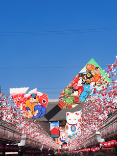 正月の浅草仲見世通りの写真素材 [FYI04097599]