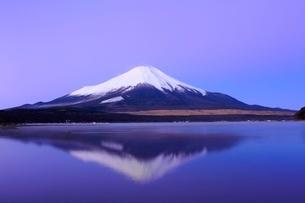 山中湖より富士山と朝焼けの写真素材 [FYI04098000]
