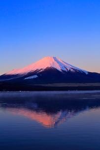 山中湖より富士山と朝焼けの写真素材 [FYI04098003]