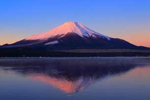 山中湖より富士山と朝焼けの写真素材 [FYI04098004]