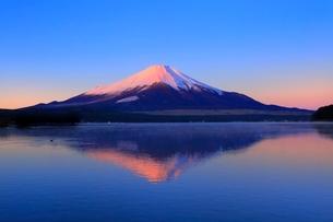山中湖より富士山と朝焼けの写真素材 [FYI04098005]