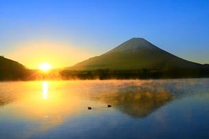 精進湖より富士山と初日の出の写真素材 [FYI04098020]