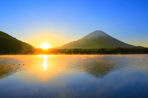 精進湖より富士山と初日の出の写真素材 [FYI04098022]
