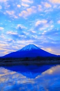 精進湖より富士山と朝焼けの写真素材 [FYI04098046]